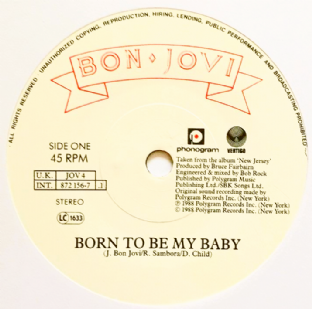 "Bon Jovi ‎- Born To Be My Baby (7"") (VG/NM)"